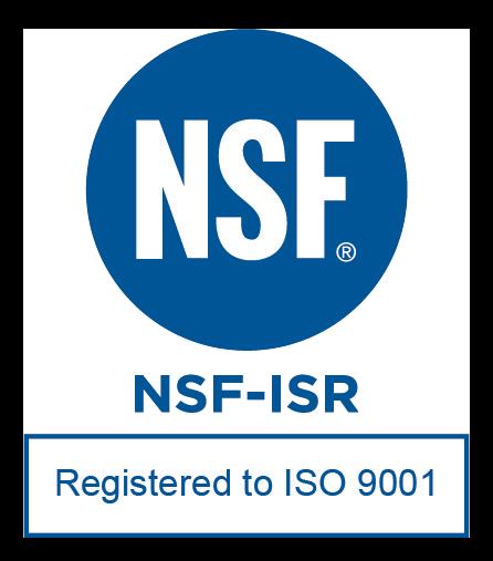 NSF-ISR registered to ISO 9001 logo