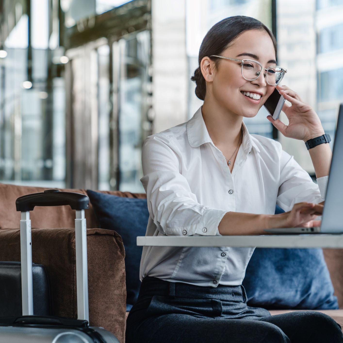 Asian business  woman on webinar