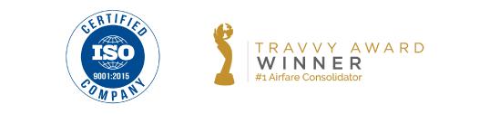 Travvy Award winner logo and ISO Certified Company logo