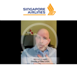 Singapore Airlines representative sending their video congratulations